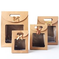 Kraft Paper Candy Wrapping Bags Clear PVC Window Paper Package Kids Gifts Wedding Favors Birthday Party Supplies LX3685