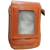 Storage Bags Short Zipper Transparent Window Organ Wallet Leather Clip For Men And Women Business Card Holder
