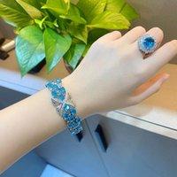 Link, Chain Luxury Bridal Jewelry Crystal Bracelets For Women Sea Blue Cubic Zirconia Silver Color Charm Bracelet Wedding 2021