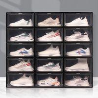 Große klare Schuhkasten Faltbare Lagerung Kunststoff Transparent Home Organizer Stapelbare Anzeige Überlagerungskombination Schuhe Container Kabinettboxen HY0036