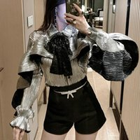 Kadın Bluz Gömlek [EWQ] 2021 Bahar Uzun Kollu Pullu Fırfır Tasarım Bayanlar Yüksek Kalite Gömlek Kore Yay Gevşek Gümüş Lady Parti Blou