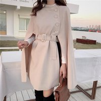 Korean Fashion Style Solid Color Loose Cape Coat Collect Waist Woolen Medium Long Women Winter Tops For Woman Women's Wool & Blends