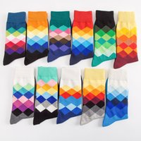 Couple socks High Quality Brand Happy British Style Plaid Gradient Color men and women Fashion Personality Cottonsocks