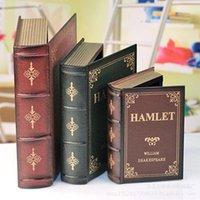Objetos decorativos figurines 3 unids libros falsos decoración de madera creativa caja de almacenamiento arte moderno arte escritorio ornamento accesorios de inicio vintage dic