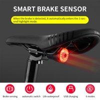 Bike Lights Bicycle Taillight Rechargeable Light Waterproof Brake Warning Rear Lamp Smart Sensor Tail Accessories