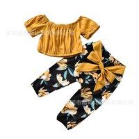 4T Toddler Bébé Girls Vêtements de girls à l'épaule Pull à manches courtes Tops Bow Floral Pantalon 2pcs Tenues pour enfants pour les filles Vêtements 2020 214 U2