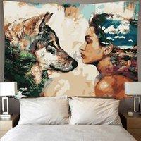 Animal lobo e homem barato hippie pendurado tapeçaria boêmio mandala parede pintura a óleo estilo arte deco