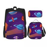 Backpack 3 Pcs Gradient Galaxy Unique Prints Knapsack For Teenagers Girls Boys Travel Bagpack Children School Bags