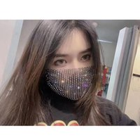 Rhinestone Mesh Reusable Cloth Face Mask Crystal Masquerade Party Bauta Masks for Women Girls Adult With Bling Diamond