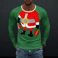 Men's T-Shirts Men 2021 Christmas Printing Loose O-Neck Pullover Tops Mens Fashion Tee Harajuku Streetwear Autumn Long Sleeve Casual