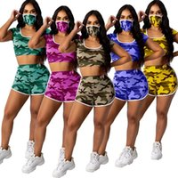 Women Tracksuits 3 Piece With Face Mask Summer Clothes Camouflage Hooded T Shirt Sports Shorts Home Outfits Sets Gym 2 Two Piece Clothing
