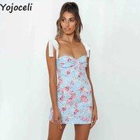 Yojoceli Elegant bow print bodycon dress Summer sexy floral short mini women Casual party daily strap sun 210609
