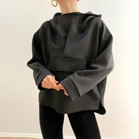 Women's Hoodies & Sweatshirts 2021 Autumn Casual Design Sense Large Pocket Loose Top Long Sleeve Hooded Sweater