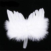 White Feather Wing Belle décoration d'arbre de Noël Angel chic suspendu Ornament Ornements de mariage Ornements de mariage Noël 1044 B3