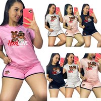 Women Sportswear Cartoon Summer tracksuits two piece sets S-2XL Casual Bear Printing Outfits Short Sleeve T shirt Shorts Jogger suits Gym Cycling Sweatsuits 324