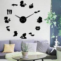 Nail Beauty Salon Decor Wall Clock Stickers Tools Polish Makeup Manicure Acrylic Mirror Art DIY Giant Watch Clocks