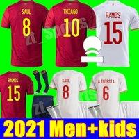 Испания футбольные трикотажные изделия 2021 национальная команда Unifroms Man Kity Kit Youth Boys Rodrigo Canales Ansu Fati Ramos Saul Koke Asensio Morata футбол