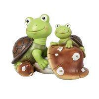 Garden Statue decorative objects & figurines cute frog face turtles,solar powered resin animal sculpture with 3 led lights for patio,lawn, decor