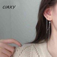CIAXY 925 Sterling Sierly Fashion Geometric Star Design Box Pendientes largos para las mujeres Regalos de joyería de boda creativos