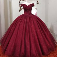 Gorgeous Princess Dark Red Burgundy Ball Gown Quinceanera Dresses Off the Shoulder Lace Applique Beads Sequined Floor Length Tulle Sweet 15 16 Pageant Gowns vestido