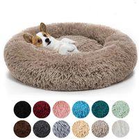 라운드 부드러운 긴 봉제 고양이 침대 kennels 하우스 집 따뜻한 작은 중형 개를위한 애완 동물 개 침대 고양이 둥지 둥지 겨울 따뜻한 잠자는 쿠션 강아지 매트 WY1318-YFA