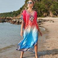رداء بوهيميا Tunics ماكسي اللباس التدرج طباعة شاطئ التفاف تقسيم الصيف المرأة طويلة جافة