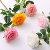 متعدد الألوان ترطيب روز زهرة واحدة الجذعية نوعية جيدة الزهور الاصطناعية لزينة الزفاف DHD6748