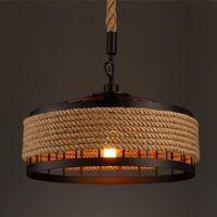 مصابيح قلادة 2021 خمر الحبل الصناعي LED شنقا مصباح تشمل لمبة لمطعم مطعم جولة شكل زخرفي ضوء الليل