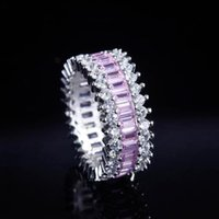 Wedding Rings Fashion Luxury Pink Zircon Row Diamond For Women Exquisite Copper Plated Silver Women's Jewelry Accessories
