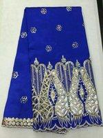5Y / PC Moda Kraliyet Mavi George Dantel Kumaş ile Sequins ve Boncuk Dekorasyon Parti Elbise Için Afrika Pamuk Dantel OG55-2