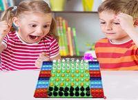 6 Estilo Gran descompresión Fidget Toy Rainbow Fluorescencia China-ajedrez Junta de ajedrez Push Bubble Fidget Toys Sensory Toys Padre-Child Time Interactive Game Regalo 4961