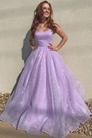 Juniors 2021 Lilac Spaghetti Straps Prom Dresses Sparkly Shiny Tulle A Line Lace-up Back Long Formal Evening Gowns for Women