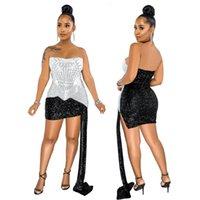 Glitter strass spliced vestidos de baile mulheres fora do ombro fitas festa clube vestido elegante noite mini vestido
