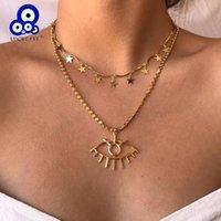 Lucky Eye Star Quaste Turkish Ewile Halskette Gold Farbe Multi Layer Kette Anhänger Für Frauen Mädchen Schmuck Le403 Halsketten
