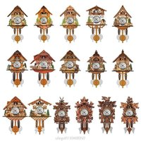 Antique Wooden Cuckoo Wall Clock Bird Time Bell Swing Alarm Watch Home Restaurant Decoration D09 20 Drop Clocks