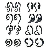 Stud 8 paires 16G gracieusful spirale tribale fausses jauges acryliques TAPERS TAPERS Boucles Boucles d'oreilles en corne Ensemble de bijoux Unisexe C7AE