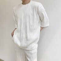 Men's T-Shirts 2021 Summer O-neck Wear Korean Version Of Pleated T-shirt Fashion Loose Casual Men Short-sleeved For Male