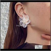 Stud Jewelryaensoa Korean White Hyperbole Flower For Women Cute Sweet Acrylic Big Irregular Floral Earrings Trendy Jewelry Drop Delivery 2021