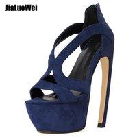 اللباس أحذية Jialuowei المرأة منصة الصنادل مثير 18 سنتيمتر عالية منحنى كعب الإناث المفتوحة تو حزب الليلة