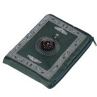 이슬람기도 깔개 휴대용 꼰 카펫 매트 지퍼 나침반 담요 여행 포켓 깔개 무슬림 예배 담요 해양화물 bwe7208