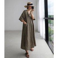 Ethnic Clothing Women Linen V-neck Loose Dresses Korean Vintage Solid Color Pocket Design Maxi Robe Kimono VKDR2147