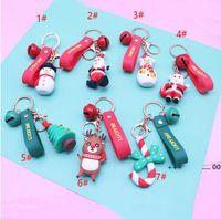 Merry Christmas Key Ring Christmas Pendant Santa Claus Elk Snowman Keychain New Year Decoration Children Xmas Jewelry Gift EWD10280