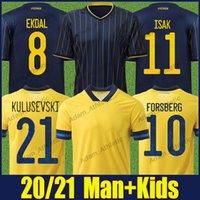 Suecia Isak Soccer Jerseys Ibrahimovic Forsberg Kulusevski Sverige National Team Jersey Berg Larsson Lindelof Fooball Camisetas Augustinsson Claesson Uniformes Top