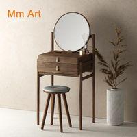 미러 미니 드레싱 테이블 블랙 호두 색 애쉬 단단한 나무 좁은 의자 북유럽 예술