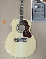 Katı Ladin 43 inç SJ200 Burlywood Akustik Elektro Gitar Ile Fishman EQ Gülağacı Klavye Maun Boyun Akçaağaç Arka Yan En Kaliteli