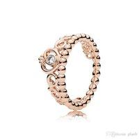 925 Sterling Silber Meine Prinzessin stapelbare Ring Set Original Box für Pandora Frauen Hochzeit CZ Diamant Crown 18k Rose Gold Ring