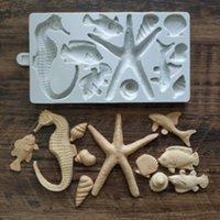 Starfish Hippocampus Forma Silicone Fondant Molde Pequeno Peixe Shell Concha Bolo Decoração De Chocolate Ferramenta K273
