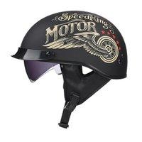 Мотоциклетные шлемы Винтаж наполовину шлем ретро скутер открыть лицо козырек Moto Helm Capacete Para со встроенным линзом