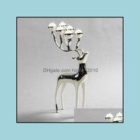 Titulares Décor Home Gardensier Banhado Cervos Forma Metal Holder, Candelabro de 6 braços com velas de 6 pcs, Decorative Candle Stick Gota entrega 2