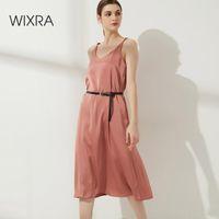 Robes décontractées WixRA Satin de femme Satin élégant col V